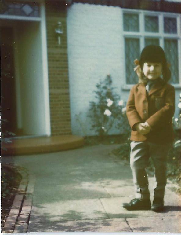 Outside the suburban Hendon house in my horse-riding gear, age five (Patricia Gucci)