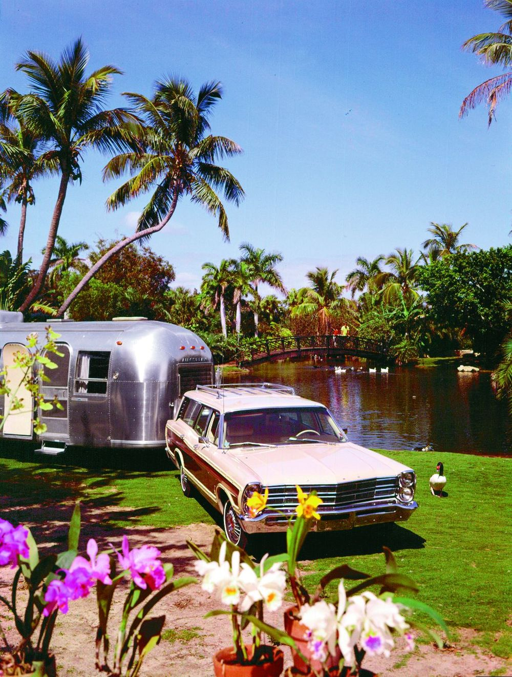 The always-popular Ford Country Squire station wagon was another ideal tow vehicle in the 1960's and 1970's. This 1967 model is towing anAirstream in beautiful Hawaii!