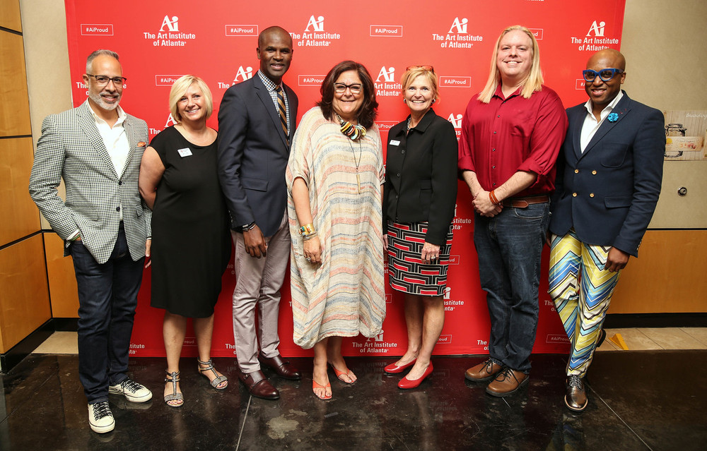 With some of the fashion faculty: E. Vincent Martinez, Mary Jo Miller, Presidents Myvett, Fern Mallis, Provost Wood, Steven Tanner, Dr. Hammonds.