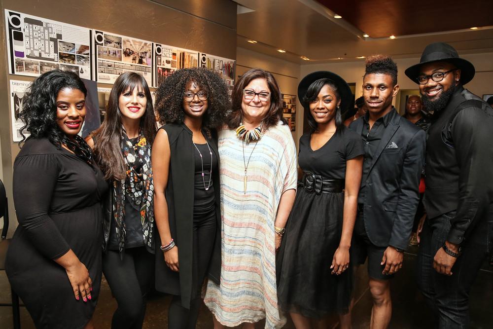 Fern Mallis with a stylish group of fashion students.
