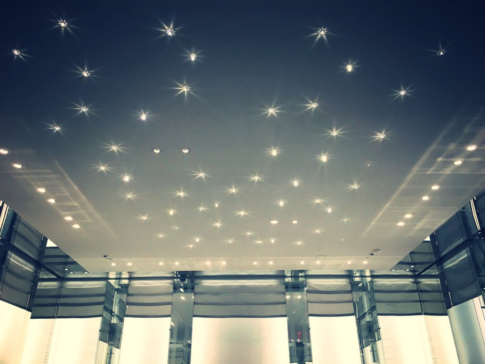 The Dior Atlanta ceiling glistened and sparkled.