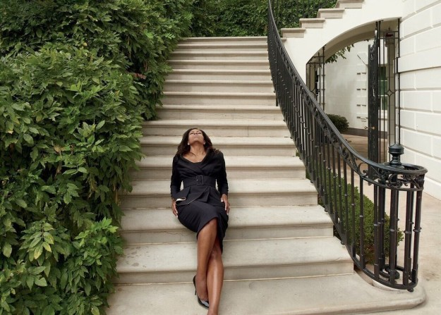 First Lady Michelle Obama in Atelier Versace jacket and dress with Jimmy Choo pumps at the White House. Annie Leibovitz/Vogue