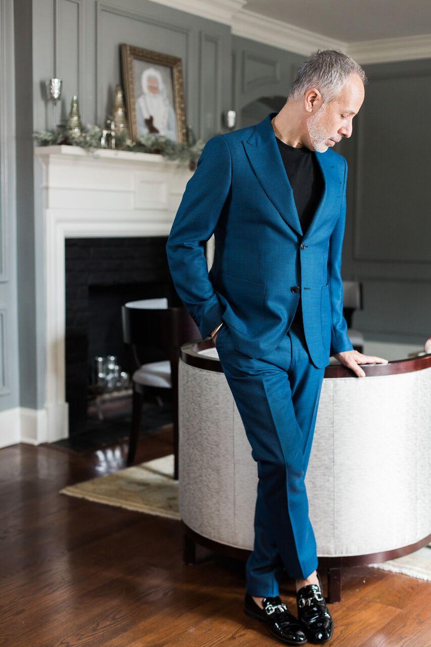 Suit: ETRO T-shirt: Hugo Boss Shoes: Gucci