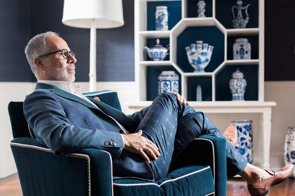 Blazer & Pants: ETRO Shirt: Brooks Brothers Shoes: Ferragamo Eyewear: Warby Parker