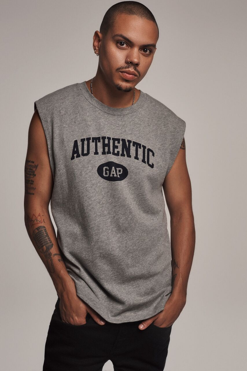 "Actor  Evan Ross, son of Diana Ross , wears the sleeveless Logo Tee as a tribute to his mother who wore a simple tank in her 1991 ad. -  ""Gap can transcend all eras. It still feels relevant. It looks like what we would be wearing right now... it is at the cusp of what we're doing right now,""  said Ross."