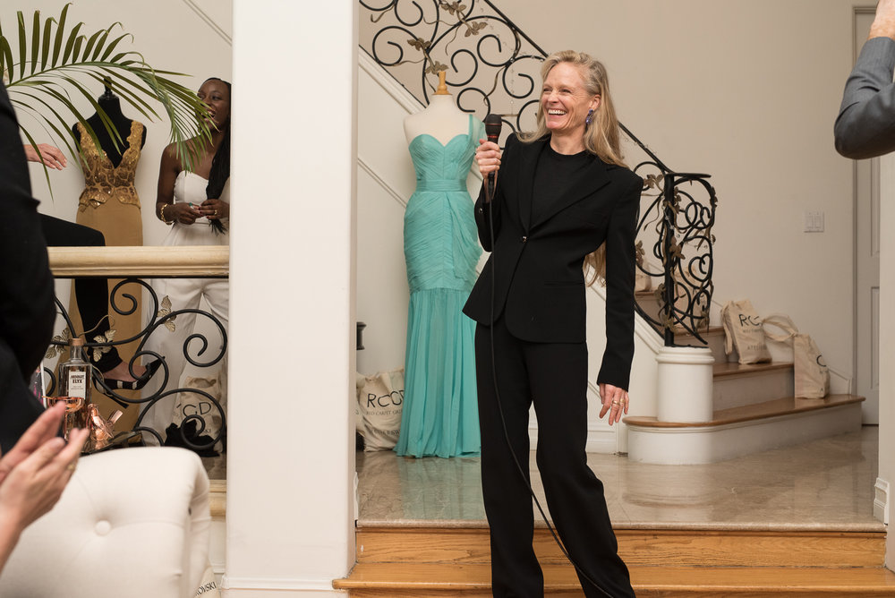 Suzy Amis Cameron smiles as she shares her heart and passion for Red Carpet Green Dress.