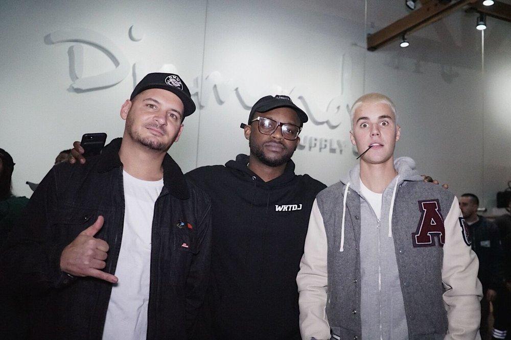 (L) Nicky Diamonds, owner of Diamond Supply Co. (C) DJ Tay James (R) Justin Bieber