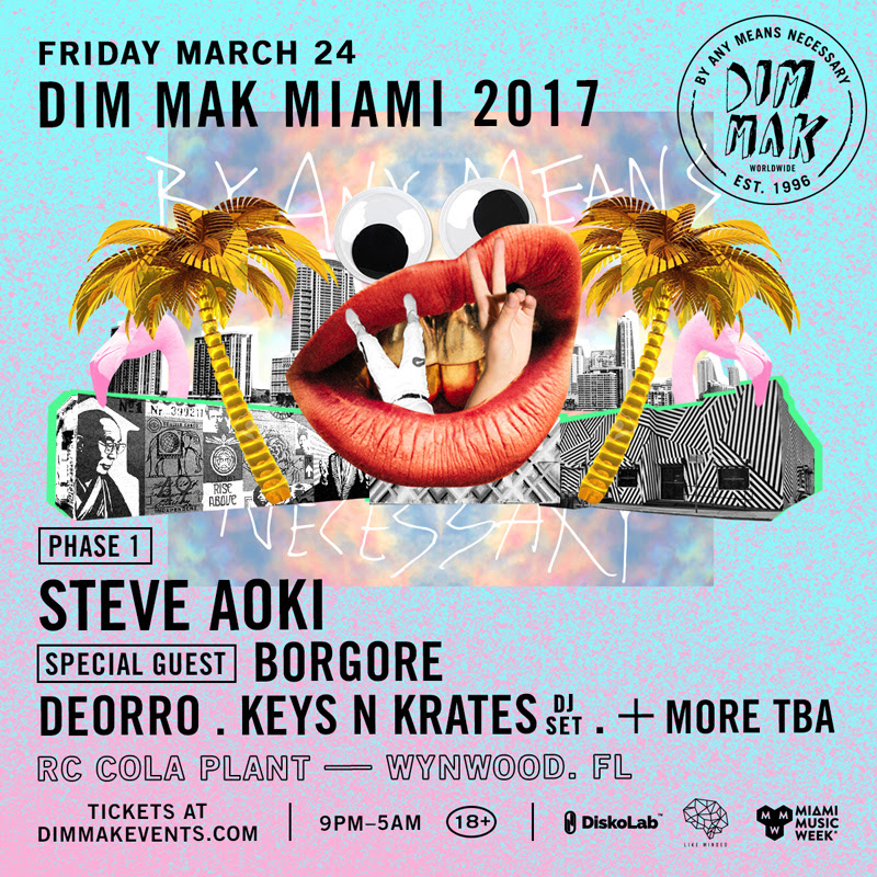 Dim Mak & Steve Aoki Return to Miami Music Week with Borgore, Keys N Krates