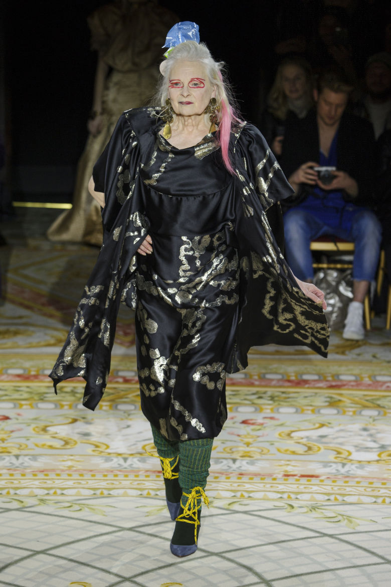 VIVIENNE WESTWOOD MODELED IN HER OWN SHOW