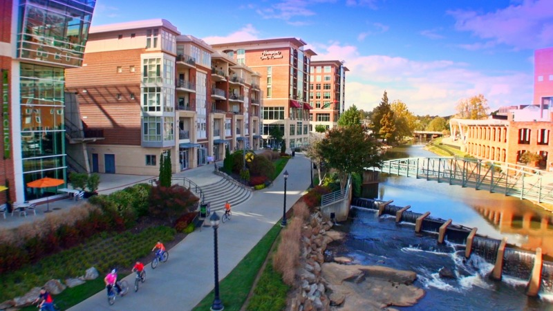 Greenville, a city of 67,000 people less than three hours from most of metro Atlanta, features a walkable, bike-friendly downtown. Photo: VisitGreenvilleSC