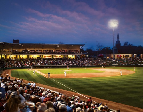 Catch a game at Fluor Field, home of the Greenville Drive, a minor-league of the Boston Red Sox. The field is modeled after storied Fenway Park. Photo: VisitGreenvilleSC