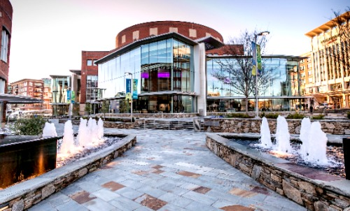 Fountains line the walkway to the Peace Center, home to touring Broadway shows plus the Carolina Ballet Theatre, Greenville Chorale, Greenville Symphony Orchestra, International Ballet and South Carolina's Children's Theatre. Photo: Peace Center