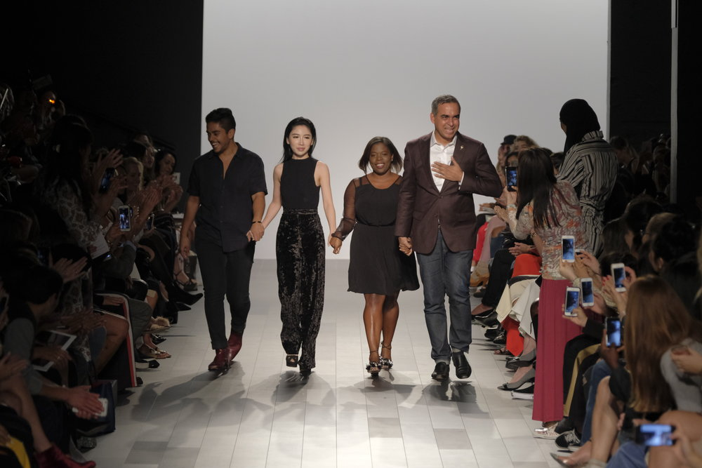 Bibhu Mohaptra (on the right) with his team: (l) David Valencia - Designer,  Cher Du -Production Manager, and Jameela Lake - Public Relations Director.