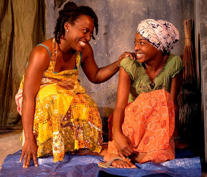 """Synchronicity Theatre's """"Eclipsed"""" received seven nominations, including best ensemble of a play. The cast included Charity Purvis Jordan (left) and Asha Duniani plus Isake Akanke, Shayla Love and Parris Sarter. Photo by Jerry Siegel"""