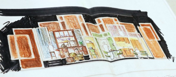 "Set designer Kat Conley's rendering for ""Crossing Delancey."""