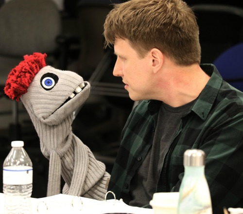 """Actor Ben Thorpe (right) and Tyrone the Puppet make nice at """"Hand to God"""" rehearsals. Puppet design by Linda Roethke. Photo: A'riel Tinter."""