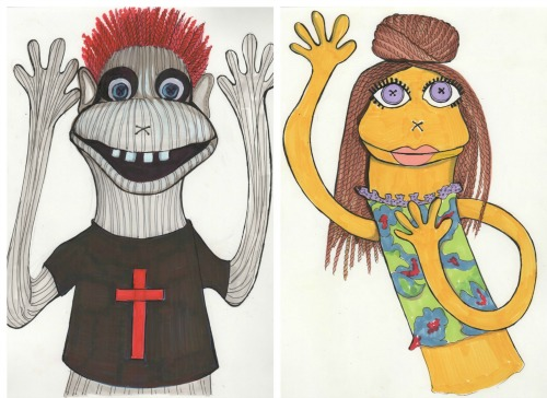 The troublemaking Tyrone (left) and a lady puppet. Designs by Linda Roethke.