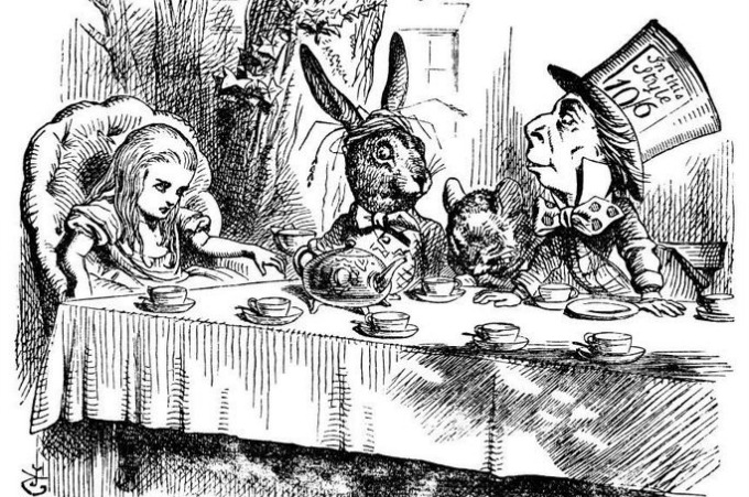 """An original illustration by John Tenniel from the """"Alice"""" books. Tenniel (1820-1914) was a British illustrator, graphic humorist and political cartoonist."""