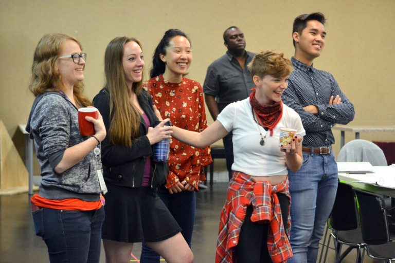 """The """"Alice"""" company (from left) includes understudy Heidi Rider, actors Lauren Boyd and Michelle Pokopac, Ashley Anderson (as Alice) and understudy Ryan Vo. In the background: group services manager Davior Snipes. Photo: Kathleen Covington"""
