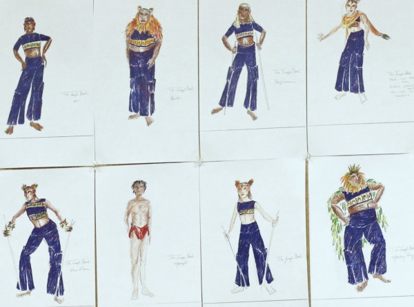 Costume renderings by designer Sydney Roberts. Baloo is second from the left in the top row. Photo: A'riel Tinter