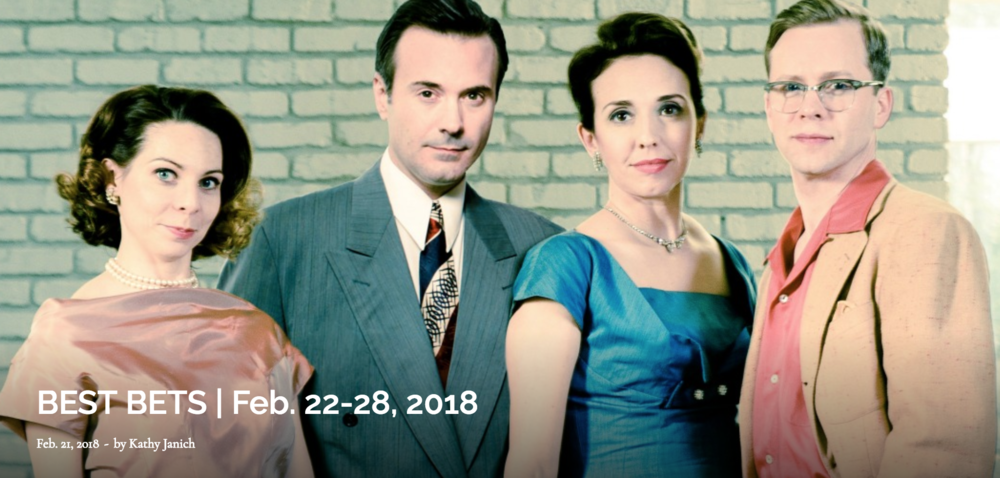 """New this week: """"Perfect Arrangement"""" (Theatrical Outfit) and """"The Daughter of the Regiment"""" (Atlanta Opera).  Going, going, almost gone are """"The Followers"""" (7 Stages), """"The Miraculous Journey of Edward Tulane"""" (Synchronicity) and the national tour of """"Rent"""" (Fox Theatre).    Pictured:""""Perfect Arrangement's"""" Millie and Bob and Norma and Jim (Ann Marie Gideon, Joe Knezevich,    Courtney Patterson     and     Clifton Guterman    ). They're so 1950s. Photo by Greg Mooney."""