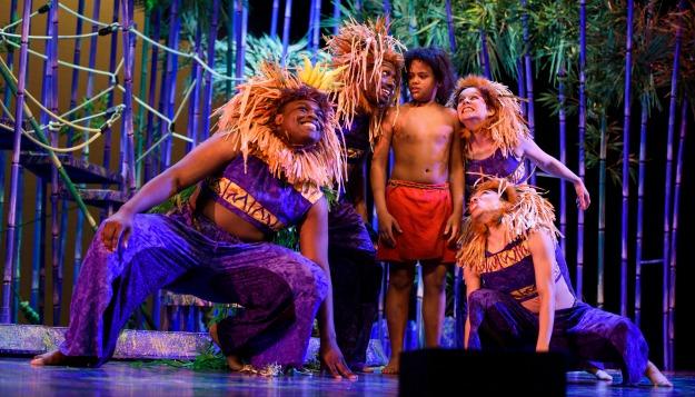 Markelle Gay (from left), J.L. Reed, Caleb Baumann (Mowgli), Ashley Anderson. Photo: Greg Mooney