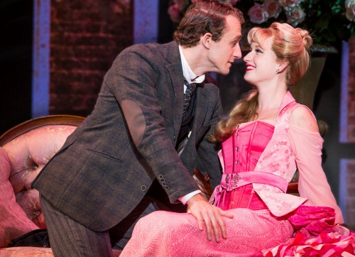 Blake Price as the scheming Monty Navarro, Colleen McLaughlin as Sibella, one of his loves.