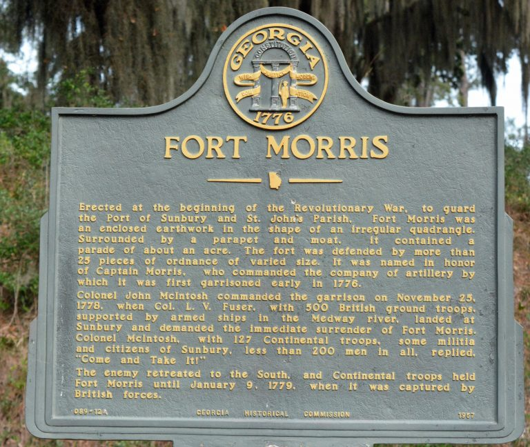 REVOLUTIONARY WAR: A historical marker at Fort Morris in Midway, Ga., 40 miles from Savannah.