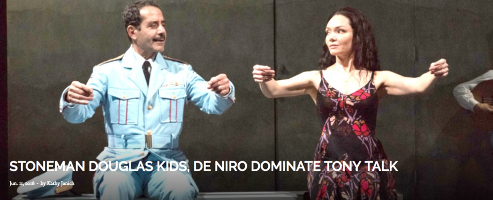 ABOVE: Tony Shalhoub and Katrina Lenk, both 2018 Tony winners, in a scene from the winning best musical  The Band's Visit. Photo by Matthew Murphy.