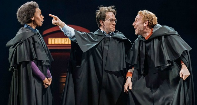 """From """"Harry Potter and the Cursed Child"""": Adult versions of Hermione Granger (Noma Dumezweni, left), Harry Potter (Jamie Parker) and Ron Weasley (Paul Thornley). Photo: Manuel Harlan"""