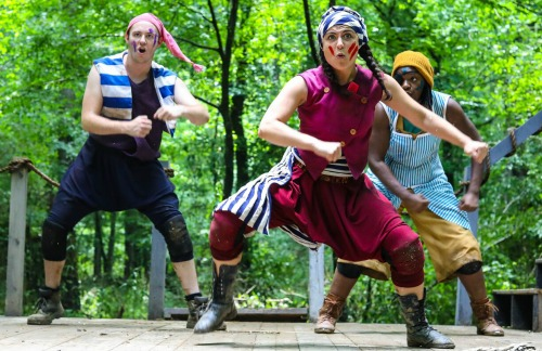 It's a pirate's life for Cullen Gray (from left), Karley Rene and Destiny Franklin. Photo: BreeAnne Clowdus