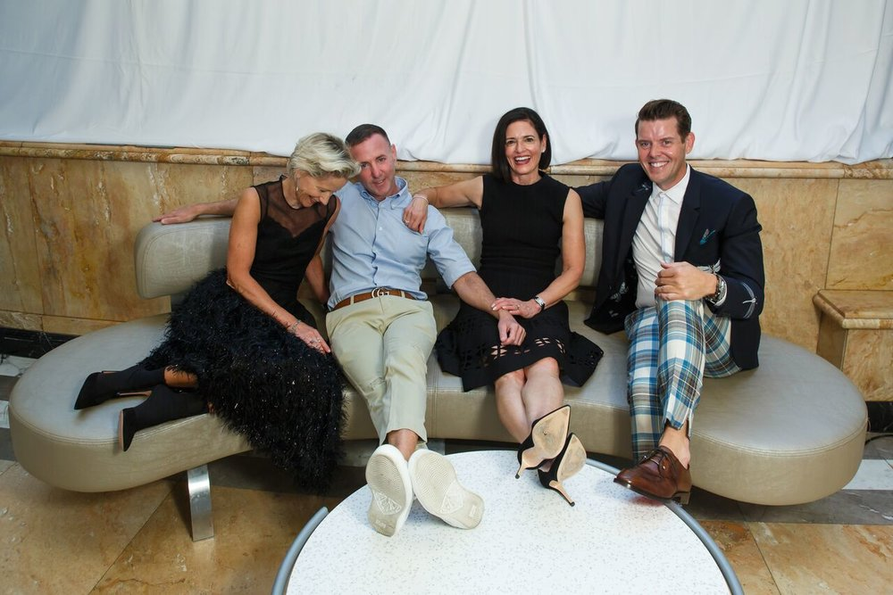 Jeffrey Fashion Cares Co-Chairs: (l-r) Louise Sams, Jeffrey Kalinsky, Lila Hertz, Jeffrey McQuithy /   Photo: Ben Rose Photography