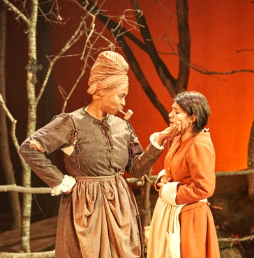 "Olivia Dawson (left) and 2018 Suzi award winner Diany Rodriguez as Abigail in Aurora Theatre's ""Abigail/1702."" Photo: Chris Bartelski"