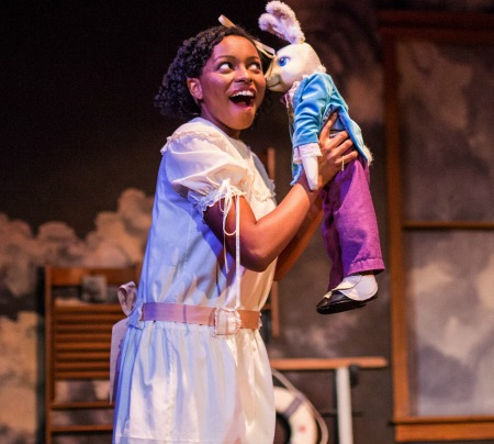 "Synchronicity Theatre's ""The Miraculous Journey of Edward Tulane"" won Suzis for Outstanding TYA Production and Outstanding Ensemble. Pictured: Jimmica Collins and Edward, a china rabbit: Photo: Jerry Siegel"