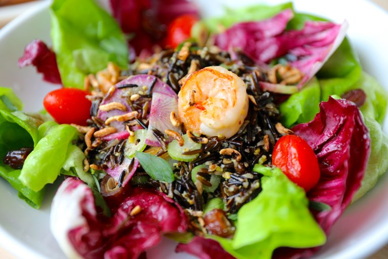 Wild rice salad with grilled shrimp at Adalina. Photo by David Danzig.