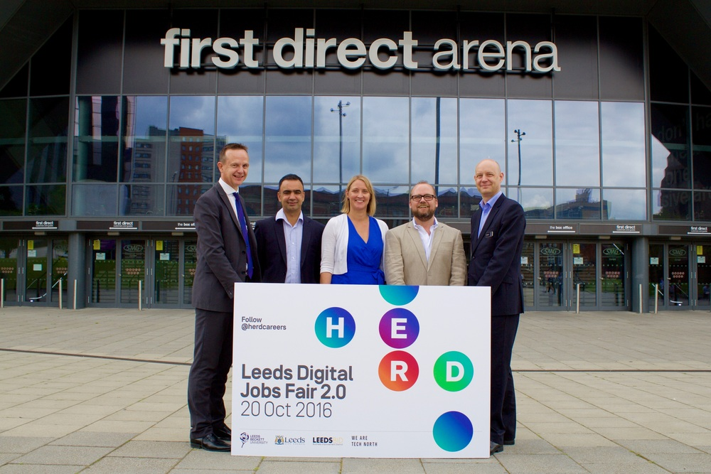 (L to R): Andrew Cooper, Chief Executive, LeedsBID; Cllr Mohammed Rafique, Executive Member for Employment, Enterprise and Opportunity, Leeds City Council; Amy De-Balsi, Founder, Herd; Richard Gregory, Director, Tech North; Ben Williams, General Manager, First Direct Arena.