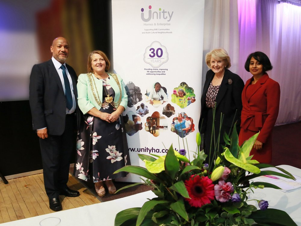 From left to right: Ali Akbor (Unity chief executive), Councillor Jane Dowson (Lord Mayor of Leeds), Baroness Dean (former Housing Corporation chair) and Shruti Bhargava (Unity chair)