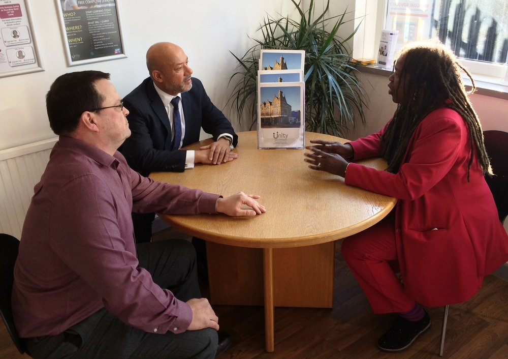 iota Business founder Cristine Wilson (right) discusses the new incubator with Unity Enterprise manager Adrian Green (left) and Unity Homes and Enterprise chief executive Ali Akbor