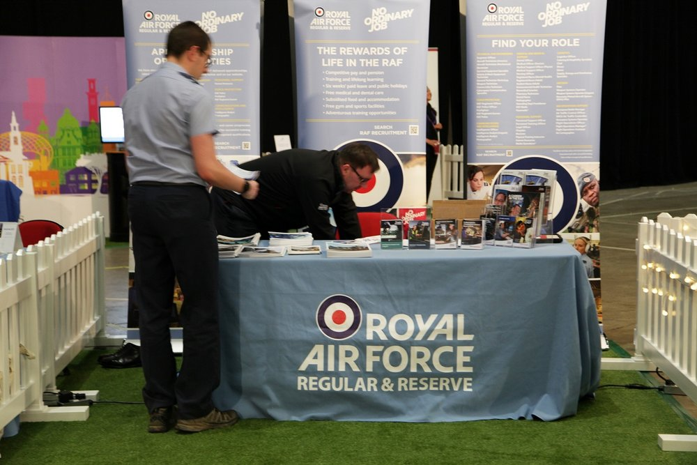The RAF team complete preparations before doors open at the First Direct Arena