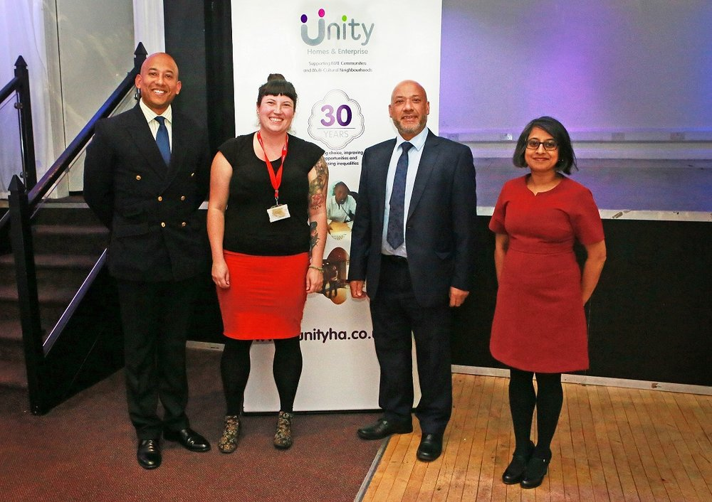 Celebrating Unity's success: (L to R) Colonel Karl Harris, Lucy Moore, Ali Akbor and Shruti Bhargava