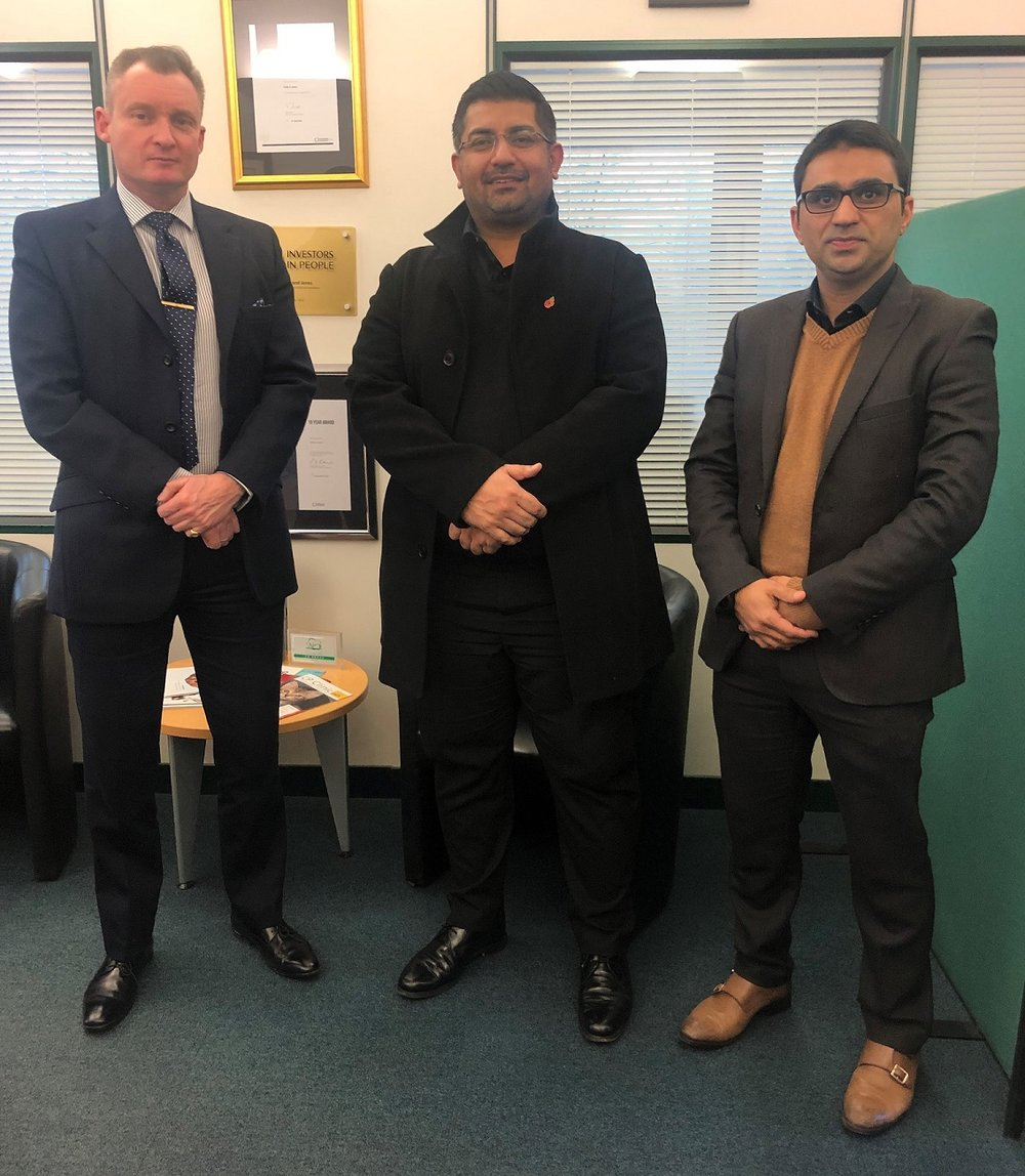 (Left to right): Dr Jason Aldiss BEM, Managing Director, Eville & Jones; Dr Jawad Khawaja, Regional Director, Eville & Jones Partnership (Middle East & Asia); and Dr Amer Rashid, Regional Director, Eville & Jones Partnership (Middle East & Asia)