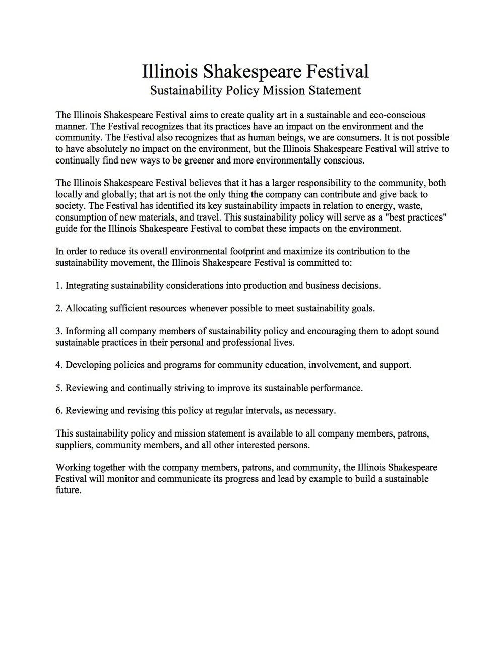 illinois shakespeare festival sustainability policy mission statment