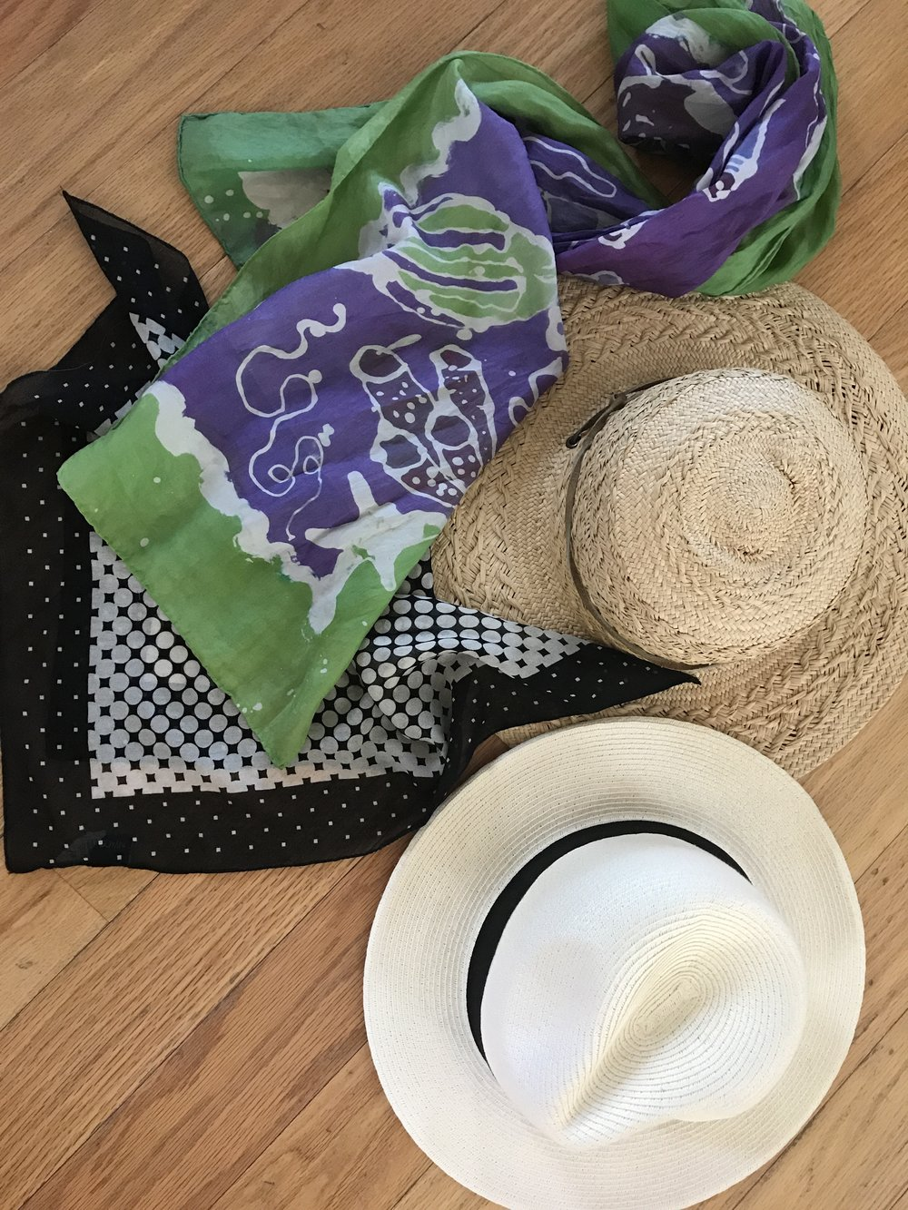 Long scarves, square scarves, big sun hats and lightweight headbands work well with existing summer headwear you can find anywhere at all price points. These cool options for summer are chic with your favorite sunglasses!