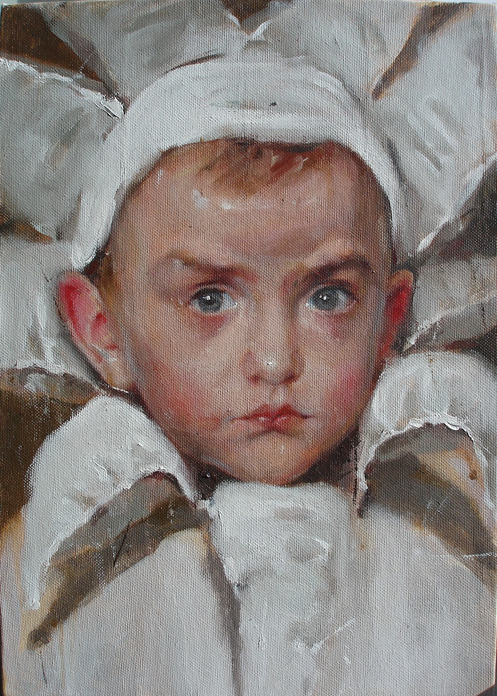 """White Ray"" (2012)  Oil on canvas  11.8 x 9.85 in"