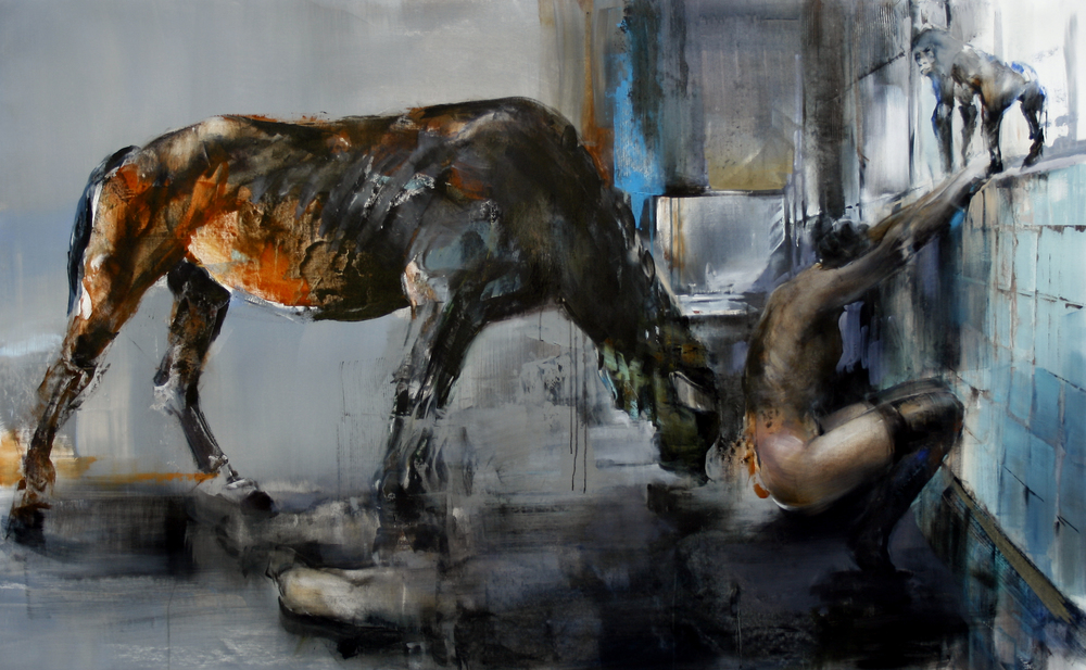 """""""Horse"""" (2011)  Oil and acrylic on canvas  44 x 72 in"""