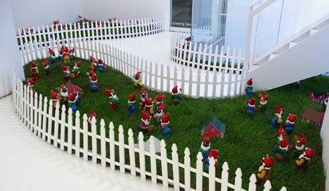 """""""There goes the neighborhood"""" (2004)  Molded plastic; enamel and acrylic paint; lead buckshotMolded plastic; enamel and acrylic paint; lead buckshot  Each Figure 11 x 4 x 4 in"""