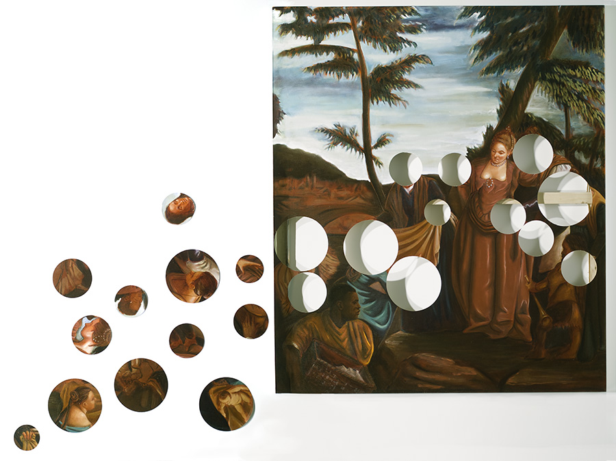"""Finding Moses""  (2006)  Oil on canvas  7 x 6-12 ft, dimensions variable. Canvas is 6 ft wide."