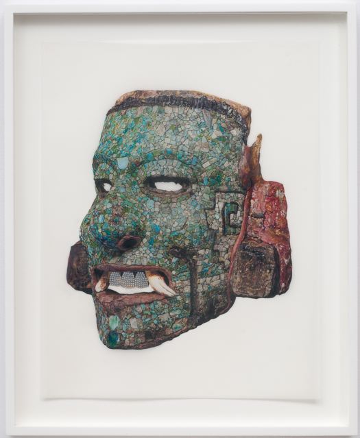 """""""Mosaic Mask (Pearly Whites)"""" (2008)  Colored pencil and Swarovski crystals on Mylar  14 x 11 in"""