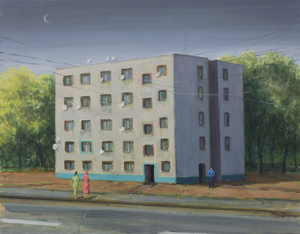 """Unite d'habitation"" (2016)  Acrylic, egg tempera & oil on board  15 x 19 in"