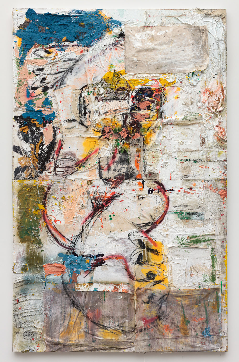 """Yasigi broken (blue, yellow, white)"" (2017)  Oil, acrylic, ink, spray paint, charcoal, coarse pumice gel and collaged materials on canvas  Installed: 96 x 60 in (2 panels)"